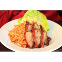 noodles con verdure e anatra fritta (sopra)